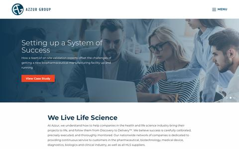 Screenshot of Home Page azzur.com - Life Science Consulting and Project Management | Azzur - captured Aug. 19, 2019