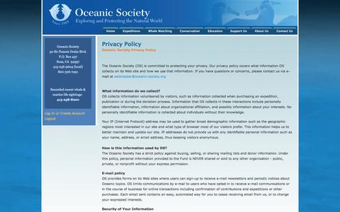 Screenshot of Privacy Page oceanicsociety.org - Privacy Policy | Oceanic Society - captured Oct. 7, 2014