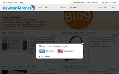 Screenshot of Blog newconference.com - Blog newConference - interesting articles about teleconferencing - NewConference Global - captured Dec. 5, 2018
