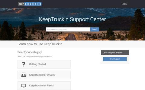 Screenshot of Support Page keeptruckin.com - Learn how to use KeepTruckin - captured June 10, 2019