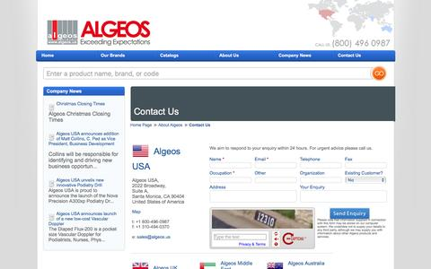 Screenshot of Contact Page algeos.us - Algeos Contacts - captured March 3, 2016