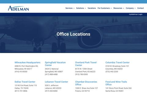 Screenshot of Locations Page adelmantravel.com - Where We Are | Adelman Travel - captured July 29, 2018