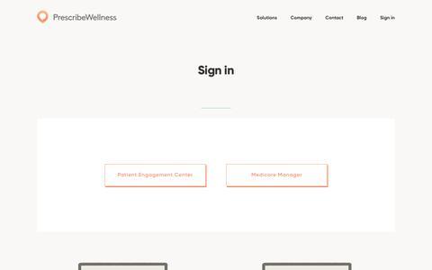 Screenshot of Login Page prescribewellness.com - Sign in | PrescribeWellness - captured Nov. 6, 2017