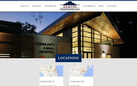 Screenshot of Contact Page Locations Page elkinsllc.com - Locations – Elkins Construction - Commercial Building - captured June 26, 2016