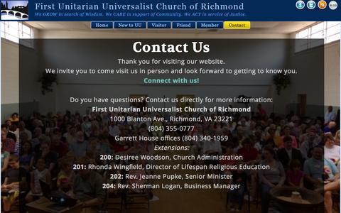 Screenshot of Contact Page richmonduu.org - Contact | First Unitarian Universalist Church of Richmond - captured Oct. 31, 2014