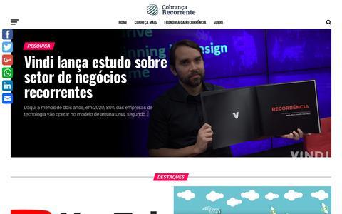 Screenshot of Home Page cobrancarecorrente.com - Cobrança Recorrente e Negócios de Assinaturas - captured Sept. 28, 2018