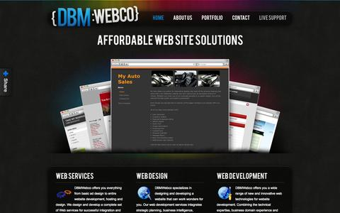 Screenshot of Home Page dbmwebco.com - Affordable Web and Graphic Design Solutions :: DBMWebCo - captured Oct. 5, 2014