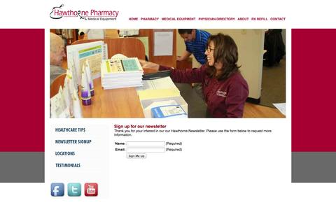 Screenshot of Signup Page hawthornesc.com - :: Welcome to Hawthorne Pharmacy & Hawthorne Medical - Hawthorne Newsletter Signup :: - captured Oct. 2, 2014