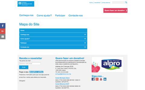 Screenshot of Site Map Page aldeias-sos.org - Mapa do Site - Aldeias de Crianças SOS - captured Sept. 30, 2017