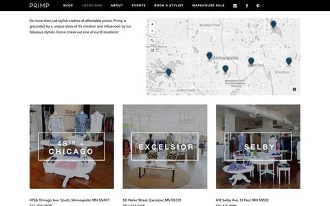 Screenshot of Locations Page primpyourself.com - Locations — Primp Boutique - captured Sept. 29, 2018