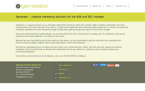 Screenshot of About Page generator.uk.com - Creative Marketing Solutions Hampshire - captured July 25, 2017