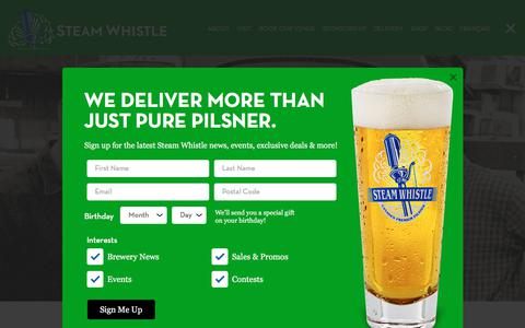 Screenshot of About Page steamwhistle.ca - Our Story | Steam Whistle Brewing - captured July 22, 2019