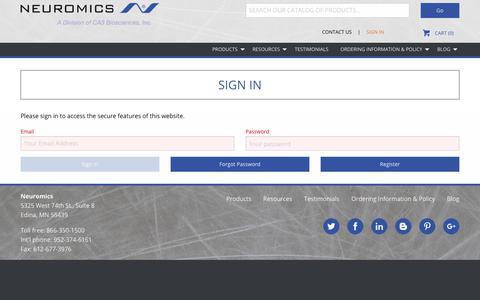 Screenshot of Login Page neuromics.com - Customer Sign In - captured Sept. 20, 2018