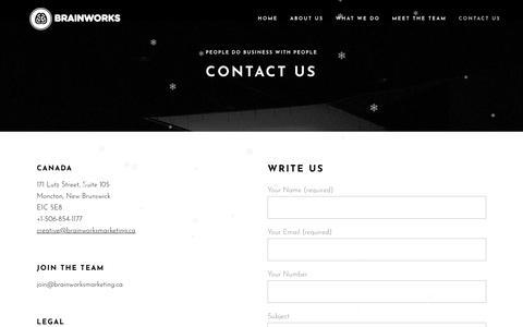 Screenshot of Contact Page brainworksmarketing.ca - Contact Us – BrainWorks - captured Jan. 16, 2020