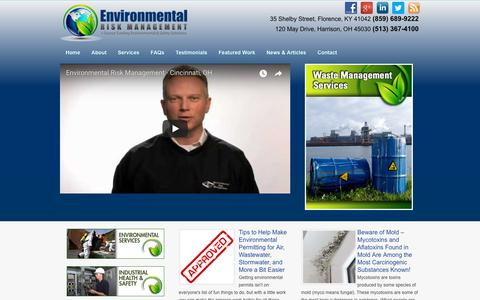 Screenshot of Home Page envrisk.com - Environmental Risk Management Waste Management - captured Sept. 28, 2018