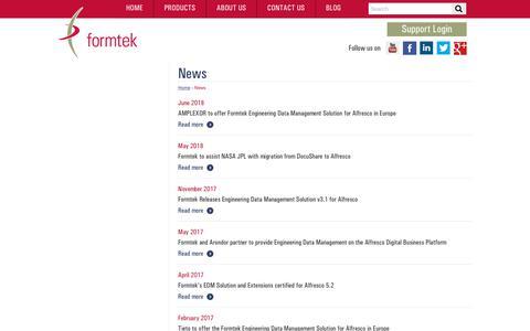 Screenshot of Press Page formtek.com - News | formtek - captured July 13, 2018