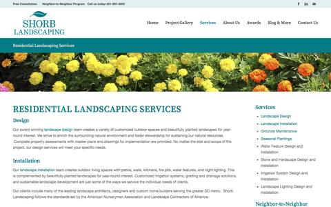 Screenshot of Services Page shorblandscaping.com - Residential Landscaping Services - Serving Washington DC, Maryland, and Northern Virginia - captured Nov. 27, 2016