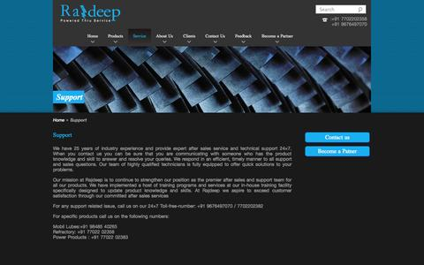 Screenshot of Support Page rajdeep.co.in - Support - Rajdeep - captured Oct. 7, 2014