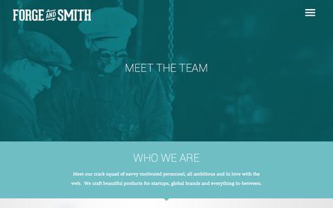 Screenshot of Team Page forgeandsmith.com - Web Development Team - Forge and Smith | Vancouver Web Design Company - captured Sept. 25, 2014