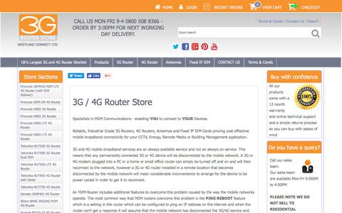 Screenshot of Home Page 3grouterstore.co.uk - 3G / 4G Router Store - Large Stocks Of 4G Routers and 3G Routers For Next Day UK Delivery - M2M 3G Routers. - captured Nov. 11, 2016