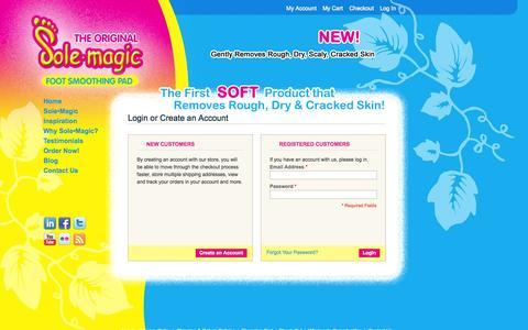Screenshot of Login Page solemagic.com - Customer Login | Sole Magic - captured Oct. 7, 2014
