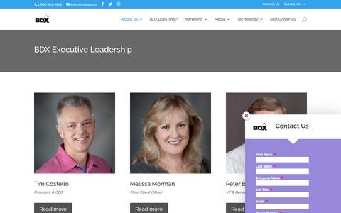 Screenshot of Team Page thebdx.com - The BDX Leadership Team | BDX Executives - captured Oct. 9, 2017