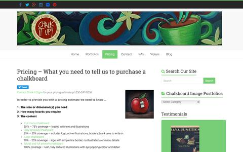 Screenshot of Pricing Page chalkitupsigns.com - Pricing - What you need to tell us to purchase a chalkboard - Chalk It Up Signs - captured Sept. 27, 2018
