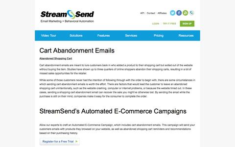 Cart Abandonment Emails | Email Marketing | StreamSend - StreamSend