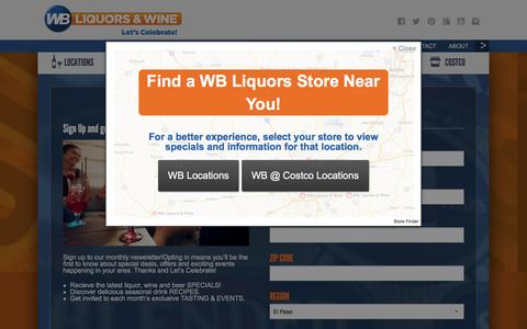 Screenshot of Signup Page wbliquors.com - Liquor Store – WB Liquors - captured Aug. 17, 2016