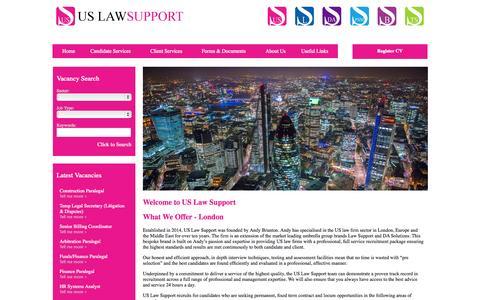 Screenshot of Home Page uslawsupport.co.uk - US Law Support Home - captured Sept. 4, 2015
