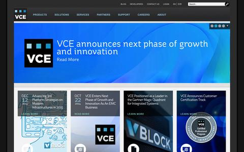 Screenshot of Home Page vce.com - Converged Infrastructure | Cloud Computing Solutions | VCE - captured Jan. 15, 2015