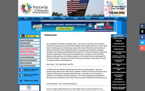 Screenshot of Testimonials Page norwinchamber.com - Testimonials about the Norwin Chamber of Commerce - captured April 15, 2016