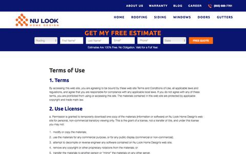 Screenshot of Terms Page nulookhomedesign.com - Terms of Use | Nu Look Home Design - captured Feb. 7, 2020