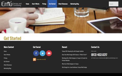 Screenshot of Signup Page emuwebdesign.com - Emu Design & Consulting   Get Started - Emu Design & Consulting - captured Sept. 30, 2014