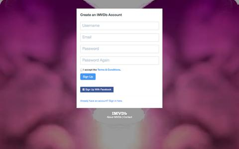 Screenshot of Signup Page imvdb.com - Create an Account | IMVDb - captured Sept. 22, 2014