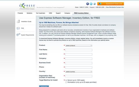 Screenshot of Trial Page expressmetrix.com - Free Software Inventory Tool for License Compliance | Express Software Manager - captured Oct. 10, 2014