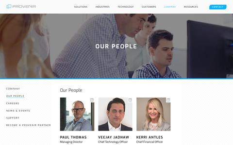 Screenshot of Team Page provenir.com - Our People | Provenir - captured Jan. 18, 2019