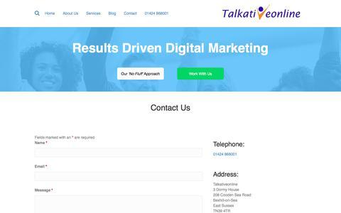 Screenshot of Contact Page talkativeonline.co.uk - Contact - Talkativeonline - captured Sept. 20, 2018
