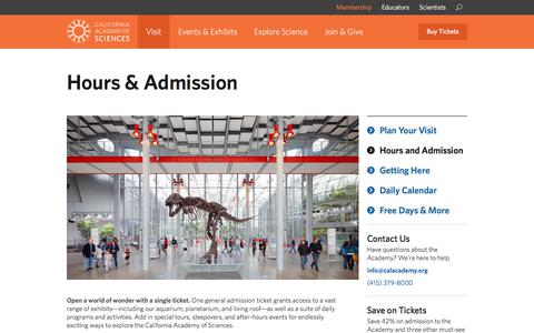 Screenshot of Hours Page calacademy.org - California Academy of Sciences Hours & Admission - captured June 28, 2017