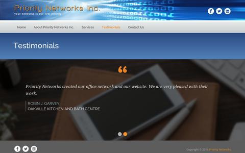 Screenshot of Testimonials Page prioritynetworks.ca - Testimonials - Priority Networks - captured Oct. 27, 2014