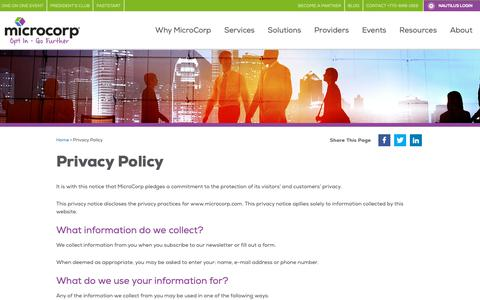 Screenshot of Privacy Page microcorp.com - Privacy Policy - MicroCorp: Master Agent & Leader in Channel Partner Support - captured Dec. 10, 2018