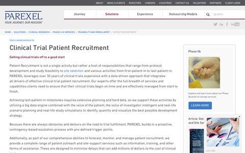Screenshot of parexel.com - Clinical Trial Recruitment | Clinical Trial Patient Recruitment | PAREXEL - captured July 9, 2017