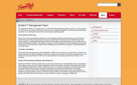 Screenshot of Team Page smittys.ca - Smitty's™ Restaurants Canada > About > Management - captured Oct. 7, 2014