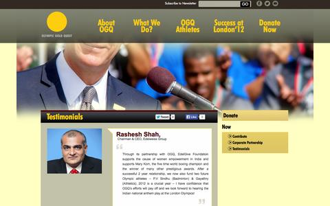 Screenshot of Testimonials Page olympicgoldquest.in - Testimonials | Olympic Gold Quest - captured Oct. 7, 2014