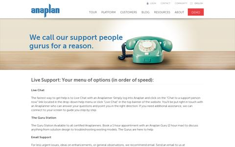 Screenshot of Support Page anaplan.com - Anaplan Support methods: help and support from our Gurus - captured July 21, 2014