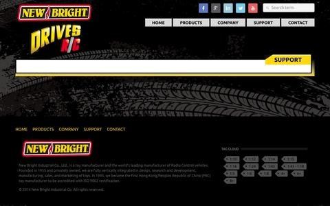 Screenshot of Support Page newbright.com - Support - New Bright - captured Oct. 7, 2014