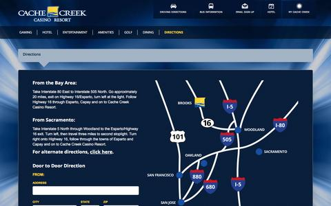 Screenshot of Maps & Directions Page cachecreek.com - Cache Creek, Directions - captured Oct. 11, 2016
