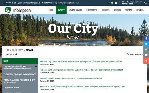 Screenshot of Press Page thompson.ca - City of Thompson - News - captured Nov. 10, 2018