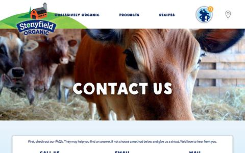 Screenshot of Contact Page stonyfield.com - Contact Us | Stonyfield - captured Jan. 16, 2018