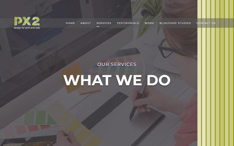 Screenshot of Services Page px2co.net - PX2 Ltd – Creative Graphic Design Agency in NorwichGraphic design services - Norwich - PX2 Ltd - Design for print and web - captured July 12, 2018